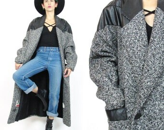 1980s Tweed and Leather Coat Black Leather Winter Coat Gray Tweed Winter Coat Womens Slouchy Salt and Pepper Long Winter Car Coat (L) E899
