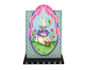 Spring Bunny and Posies Handpainted Wood Tag, Hand Painted Shelf Sitter, Easter Bunny Decor, Tole Decorative Painting, B1
