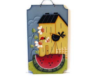 Saltbox House Sign with Daisies, Watermelon, Crow,  Handpainted Wood,  Hand Painted Prim Home Decor, Wall Art, Tole Decorative Painting, B1
