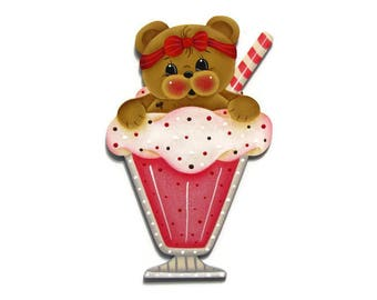 Straw-Beary Shake Fridge Magnet or Ornament, Handpainted Wood Refrigerator Magnet, Hand Painted Teddy Bear, Tole Decorative Painting