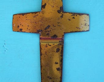 handmade rusty cross cut from old Folger's can for  home decor, altered art, mixed media, collage, jewelry