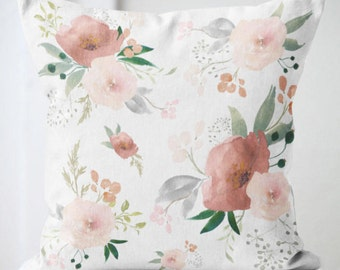 Pillow Cover Floral Pillow Blush and Sage Gabrielle