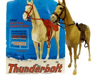 Vintage Thunderbolt A Real Western Range Horse Louis Marx & Co Inc. The Perfect Mount for Johnny West The Movable Cowboy 13 Inches Tall