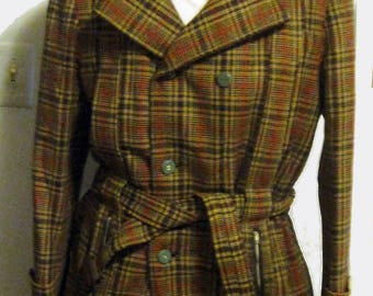Men's Vintage 50's-60's Belted Plaid Short TweedTrench coat by Champion Sz 40-42