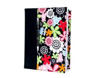 Composition notebook cover with option to personalize, notebook cover, fabric notebook cover, journal, teacher gifts - Black Floral