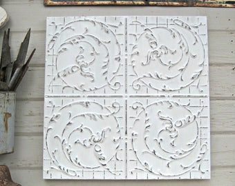 Tin Ceiling Tile. FRAMED 2x2 antique metal tile.  Vintage architectural salvage. White Shabby wall decor. Old pressed tin.