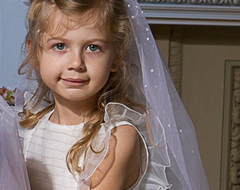 First Holy Communion Veil White Pearls Accents
