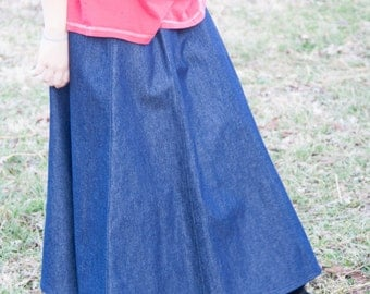 Girls Long Modest Handmade Elastic Waist A-line Country Denim Jean Skirt Size 3-16