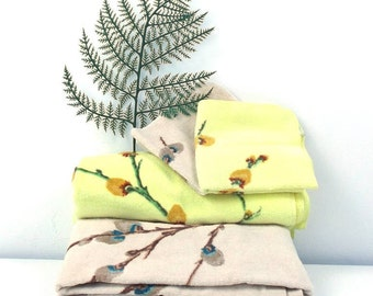 vintage 70s fieldcrest bath towel pussy willow branch yellow cream set 4 pc bathroom shower full size face wash cloth matching coordinating