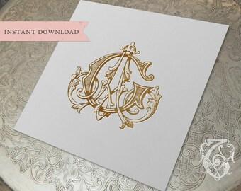 Vintage Wedding Monogram AG GA Digital Download G A
