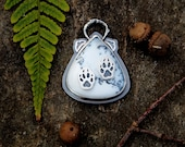 Wolf Animal Totem Dendritic Opal Sterling Silver Statement Pendant with Wolf Paws and Stamped Birds Nature Jewelry Branches Pendant Necklace