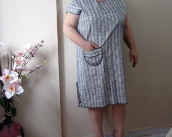 Plus size Casual Dress, Summer pocket dress, Knee Length Women's Home Wear Dress
