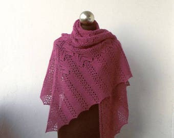 Fuchsia Rose hand knitted alpaca shawl ,hand knit shawl