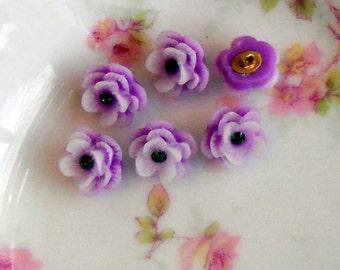 "Celluloid buttons,Acrylic Purple Japan Flower Rose Button Rhinestone 1/2"" Pretty petite Shabby Chic Cottage 3D #128C"