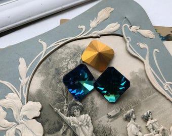 Vintage Swarovski,18mm squareRivoli,2650 Bermuda Blue V GF Austria Rare Superior Stones #1042B