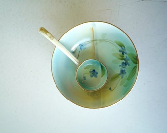Green Crown Nippon 3-Footed Mayonnaise Bowl w/Ladle, Handpainted Antique/Vintage