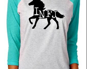 INFJ Unicorn Turquoise Raglan Shirt