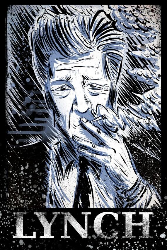 David Lynch Art Print illustration wild at heart eraserhead eraser head avant garde smoking twin peaks mulholland drive lost highway badon