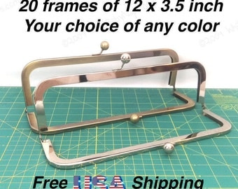 20 frames of 12x3.5 inch metal clutch purse frames in Nickel and/or Antique Brass for large handbags, cinema purse or leather bags