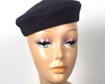 Vintage 1950s Navy Pillbox Hat with Velvet Bow on Back
