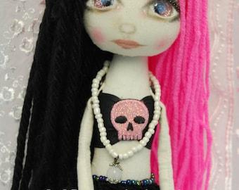 FREE WorldWide Shipping Siren AMATHEIA & her Starfish Gothic folk art Doll OOAK Dark Mermaid Emo collectable handmade goth home decor