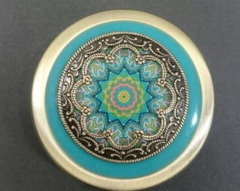 Mandala Victorian antique style Pill Case, antique brass Pill Box, Pill Holder.