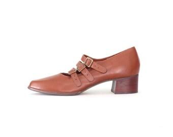 Vintage Maryjanes * Chunky Heel Mary Janes * 90s Mary Jane Shoes * size 8 / 39