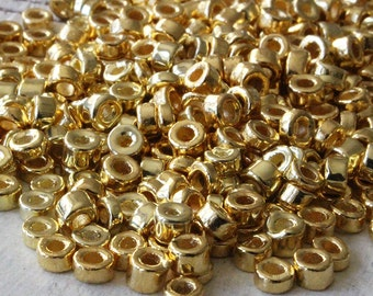 4mm Mykonos Beads -  Mykonos Gold Beads - 24K Gold Seed Beads - Jewelry Making Supplies - Metalized Ceramic Beads - Choose Your Amount
