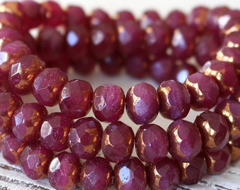 9x6mm Firepolished Rondelle Beads - Czech Glass Beads - Jewelry Making Supply - Opaline Ruby With Bronze - CHOOSE AMOUNT