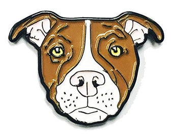 Brown White Pitbull American Bully Pit Bull Terrier Breed Dog Lover Enamel Pin