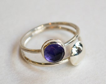 Amethyst ring, Dainty silver ring, sterling silver stacking band, simple silver ring, modern ring, thin ring, shiny ring - Back To You R2261