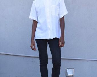 Vintage Linen & Cotton 1990's Minimalist Crisp White Oxford Button Up Short Sleeve Blouse S/M