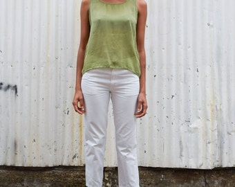 Vintage Chartreuse Green 1990's Lime Basic Rayon Scoop Neck Crop Tent Tank S/M