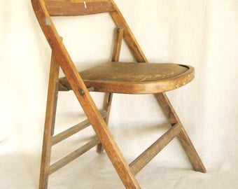 Antique Wooden Folding Chair, Extra Seating, Collapsible, Furniture, Brown Wood, Kitchen, Desk Chair, Vintage, Bent Wood