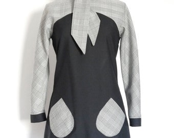 Black Pure Wool and Monochrome Prince of Wales Check Mod Mini Dress - by Dig For Victory
