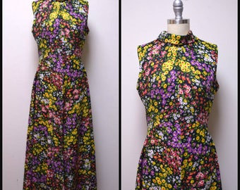 Vintage 60s/70s Black Floral Polyester Double Knit Maxi Hostess Formal Dress ~S