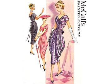 McCalls 3957 RARE & FABULOUS 50s Cocktail Gown side draped skirt wrap bodice sheath dress Vintage Sewing Pattern Size 14 Bust 34 inches