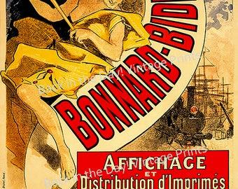 """New  Fine Art Giclée Reproduction Vintage French Advertising Poster """"Bonnard-Bidault, affichage et distribution d'imprimés"""" c1881"""