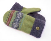 Wool Sweater Mittens from Recycled Sweaters Fleece Lined Green with Blue Snowflakes and Red Accents