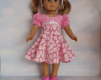 18 inch doll clothes- Pink Daisy  Dress handmade to fit the American Girl Doll - FREE SHIPPING