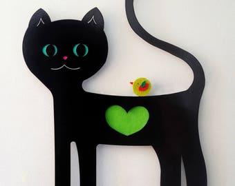 Kids coat rack. Cat wall hook. Black cat. Children coat hook. Cat lover gift. Modern coat hanger. Nursery wall decor. Kids wall decor. Cats.