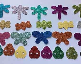 Bug-Butterfly-Dragonfly-Bee-Glitter Stickers-Document Faith-Calendar Sticker-Bible Journal-Planner Stickers-DIY Crafts-Paper Embellishments