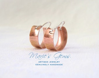 Copper Hoop Earrings, Mini Hoops, Small, Sterling Silver Wires, Mixed Metal Earrings, Hammered Copper, Textured, Anticlastic, Concave
