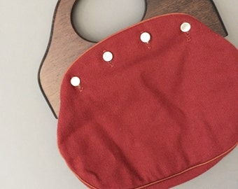vintage wood handle handbag / burgundy wool vintage bag