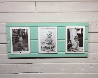 Distressed wood picture frame triple 4x6 mint green and white