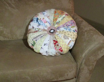 "Quilted Round Sprocket Pillow Large  20"" Shabby Chic Cottage Pillow Quiltsy Handmade"