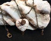 Howlite Heart Pendant Wrapped in Antique Bronze Wire on 16 Inch Antique Bronze Chain, One of a Kind, Previously 22 Dollars ON SALE