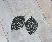 N I G H T - Black Lace, Hand Painted Metal Filigree, Silver Dangle Earrings