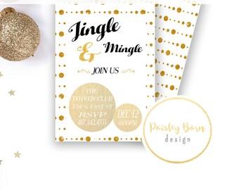 INSTANT DOWNLOAD Jingle & Mingle | Printable Invites | 4x6 5x7 | Invitation, Christmas, Custom, Card, Gold, Sparkle, Jingle, Classic