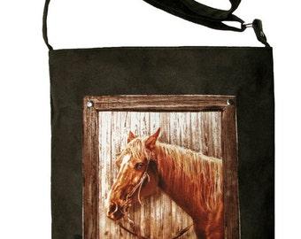 Crossbody Bag, Horse Bag, Caballo, OOAK Bag with Zipper, Bag with Adjustable Strap, ECO Suede, OOAK, Ready to Ship, Messenger Bag, Teens Bag